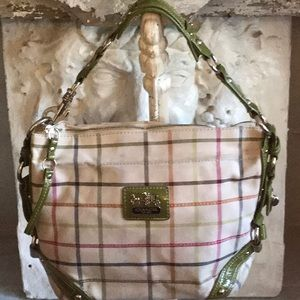 Coach Plaid & Green Patent Leather Hobo